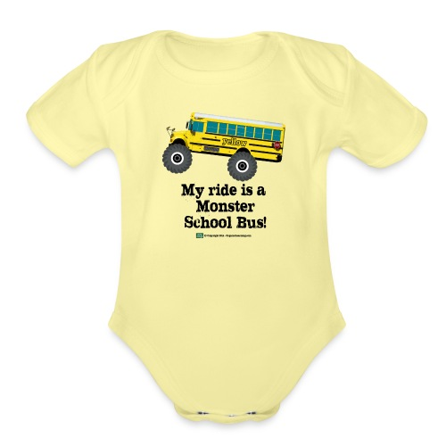 Monster Schoolbus Spreadshirt 3 png - Organic Short Sleeve Baby Bodysuit
