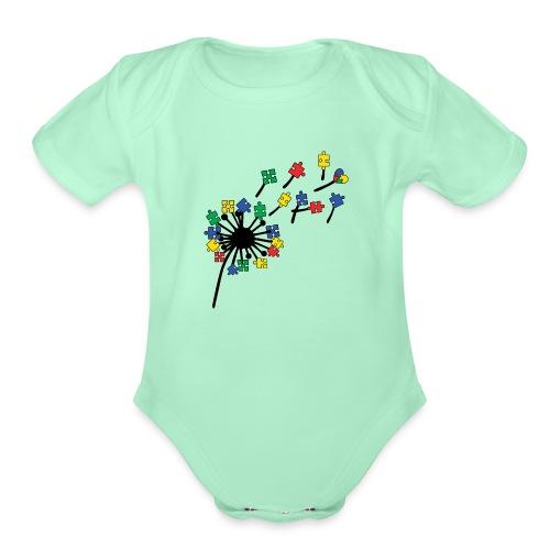 Autism Awareness Dandelion - Organic Short Sleeve Baby Bodysuit