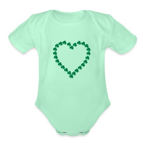 shamrock heart - Organic Short Sleeve Baby Bodysuit