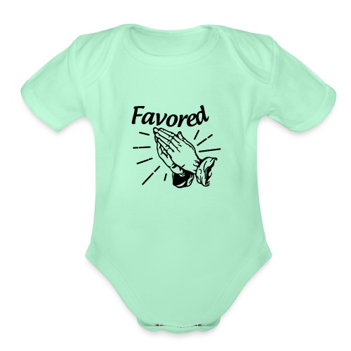 Favored - Alt. Design (Black Letters) - Organic Short Sleeve Baby Bodysuit