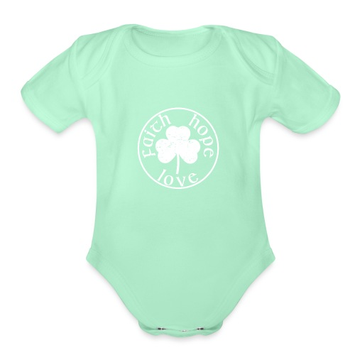 Irish Shamrock Faith Hope Love - Organic Short Sleeve Baby Bodysuit
