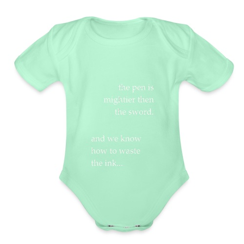 invert the pen is mightier(invert) - Organic Short Sleeve Baby Bodysuit