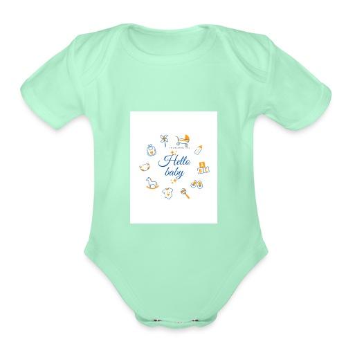 Hello baby - Organic Short Sleeve Baby Bodysuit