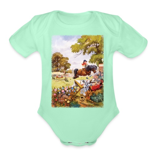 PonyTournament Thelwell Cartoon - Organic Short Sleeve Baby Bodysuit