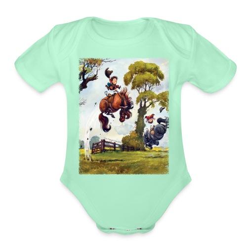 PonyRodeo Thelwell Cartoon - Organic Short Sleeve Baby Bodysuit