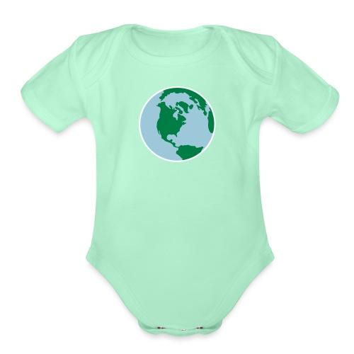 Earth Day World 3 Color Vector - Organic Short Sleeve Baby Bodysuit