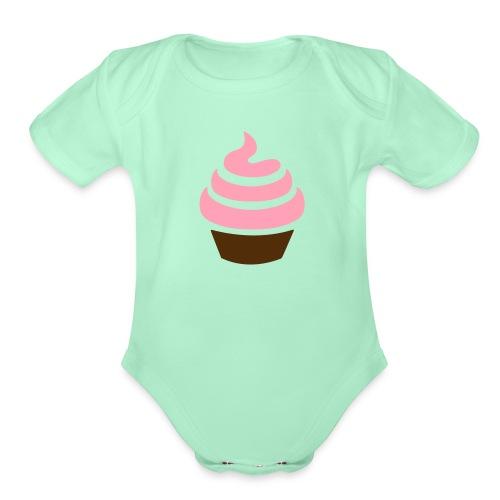 cupcakepink vector - Organic Short Sleeve Baby Bodysuit