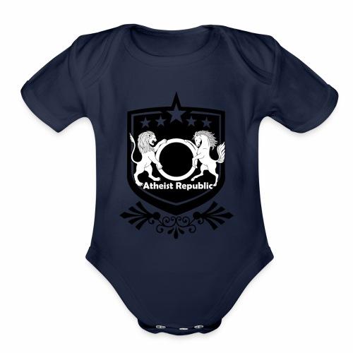 Atheist Republic Logo - Starred Badge - Organic Short Sleeve Baby Bodysuit