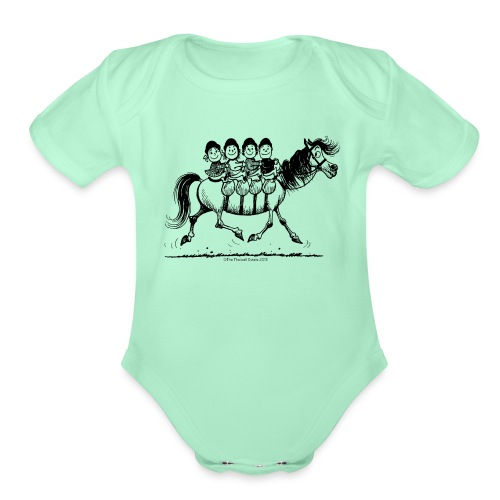 Gang of four Thelwell Cartoon - Organic Short Sleeve Baby Bodysuit