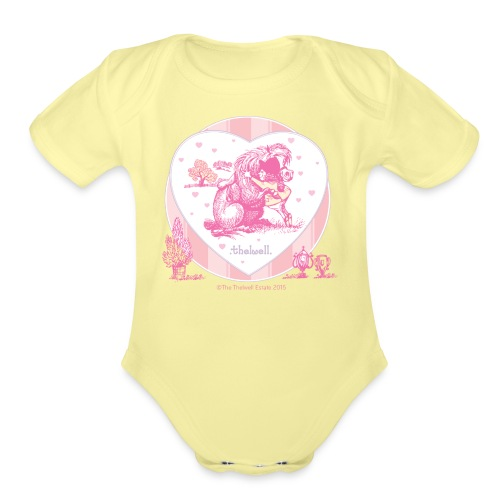 PonyHugging Thelwell Cartoon - Organic Short Sleeve Baby Bodysuit