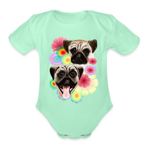 Happy Pug Grouchy Pug-Very bright flowers - Organic Short Sleeve Baby Bodysuit