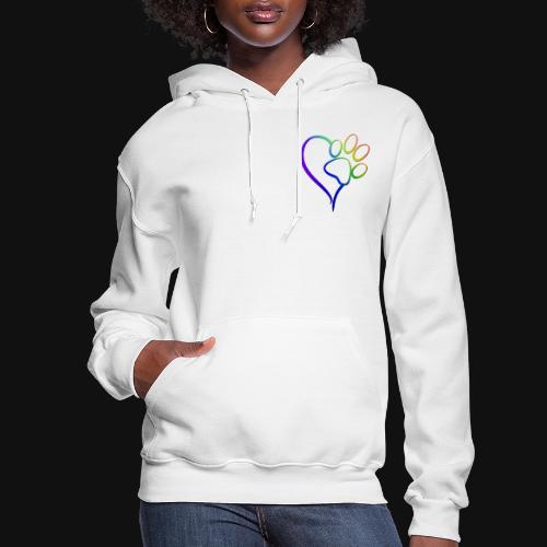 Paw Print on my Heart Rainbow Bridge - Women's Hoodie