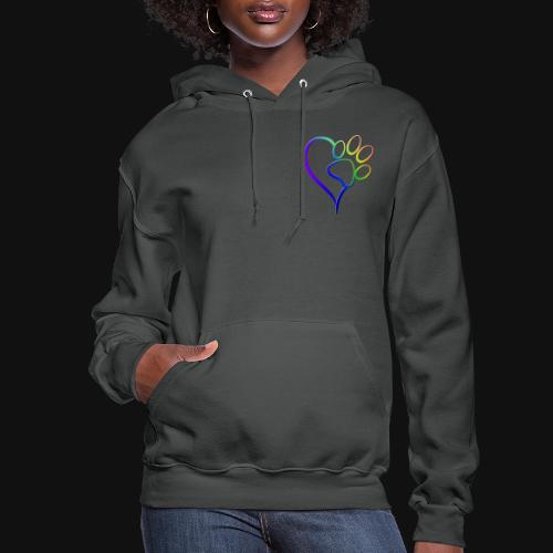 Paw Print on my Heart Rainbow Bridge - Women's Hoodie