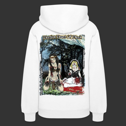 Thanksgiving Zombie Feast Full Background - Women's Hoodie