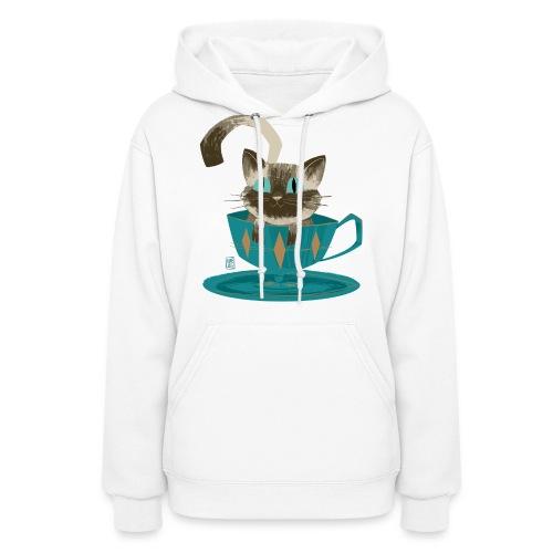 Cat in a Teacup by Kim B - Women's Hoodie