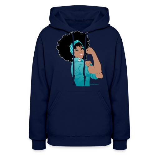 GlobalCouture WeCanDoIt TEAL Girl RGB png - Women's Hoodie