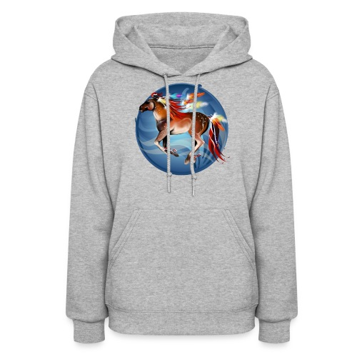 Horse N Bright Feathers Framed - Women's Hoodie