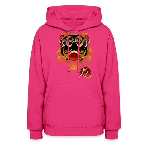 Black n Gold Chinese Dragon 's Face and Symbol - Women's Hoodie