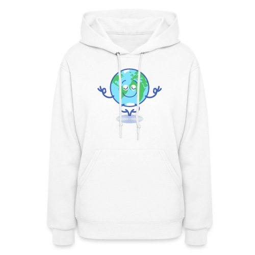 Planet Earth meditating and smiling - Women's Hoodie
