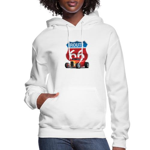 Route 66 Sign with Classic American Red Hotrod - Women's Hoodie