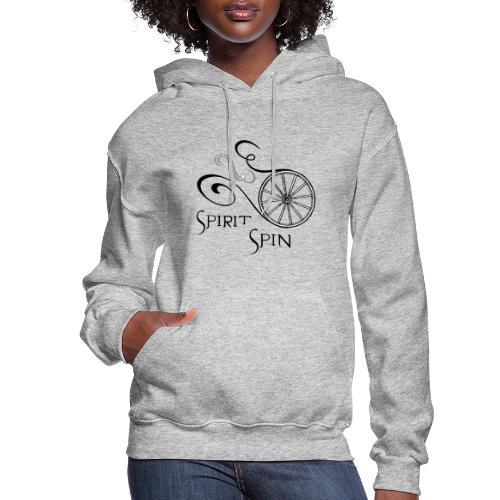 Spirit Spin Black Logo Transparent Background - Women's Hoodie