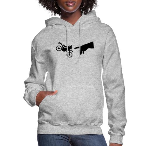 The hand of god brakes a motorcycle as an allegory - Women's Hoodie