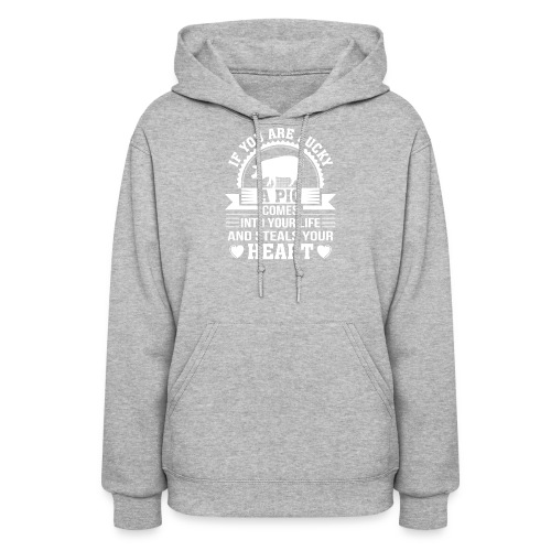 Mini Pig Comes Your Life Steals Heart - Women's Hoodie