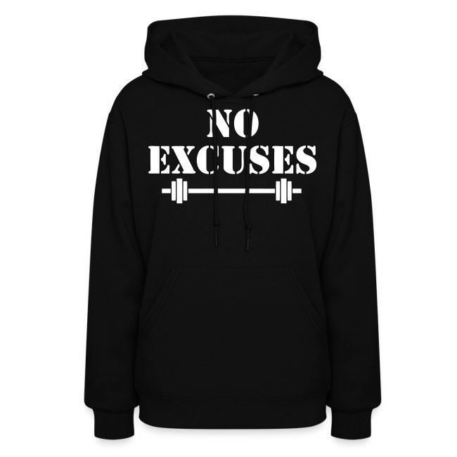 No Excuses Fitness Sports Womens Hoodie Motivational Workout Quotes Fitness Motivation