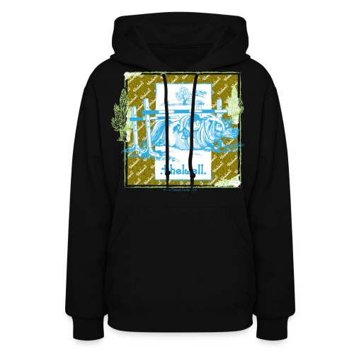 PonyFall blue yellow Thelwell Cartoon - Women's Hoodie