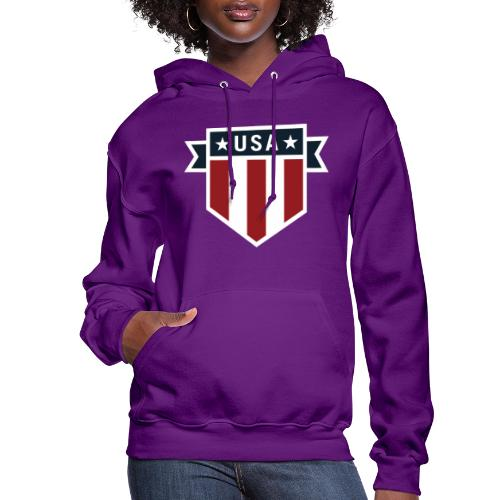 USA Pride Red White and Blue Patriotic Shield - Women's Hoodie