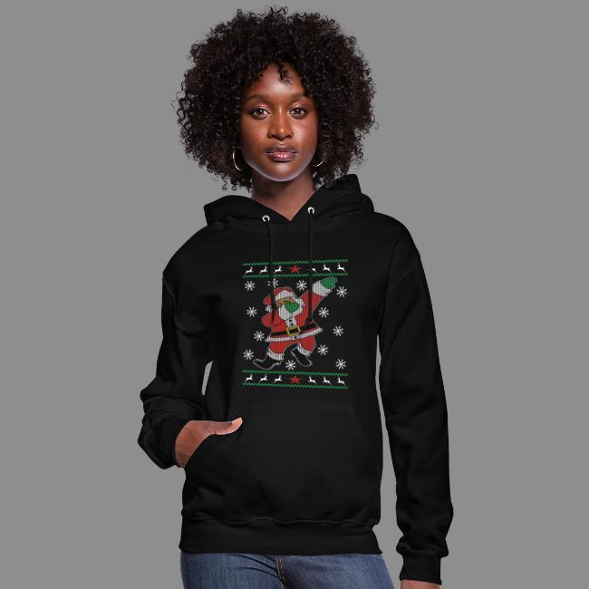 Dabbing Black Santa Ugly Christmas Sweater style   Women's Hoodie