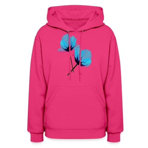 Two Electric Blue Flowers - Women's Hoodie