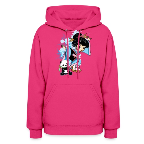 Cartoon Kawaii Geisha Panda Ladies T-shirt by - Women's Hoodie