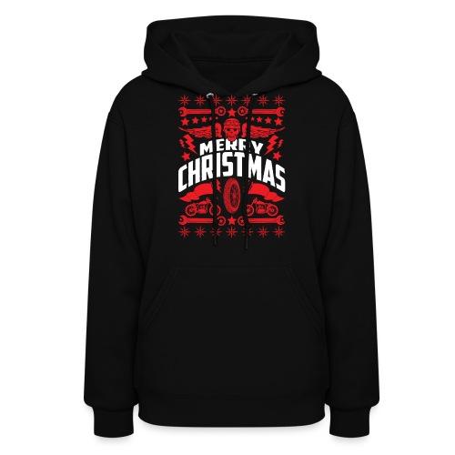 Biker Ugly Christmas Sweater - Women's Hoodie