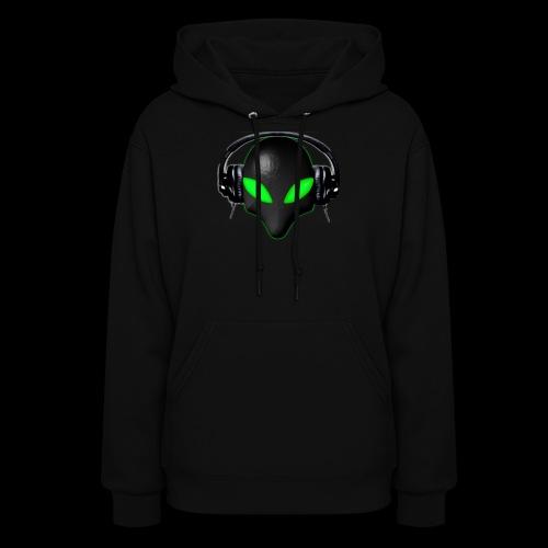 Alien Bug Face Green Eyes in DJ Headphones - Women's Hoodie