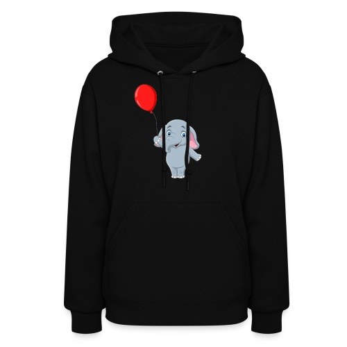 Baby Elephant Holding A Balloon - Women's Hoodie