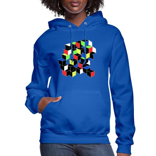 Optical Illusion Shirt - Cubes in 6 colors- Cubist - Women's Hoodie