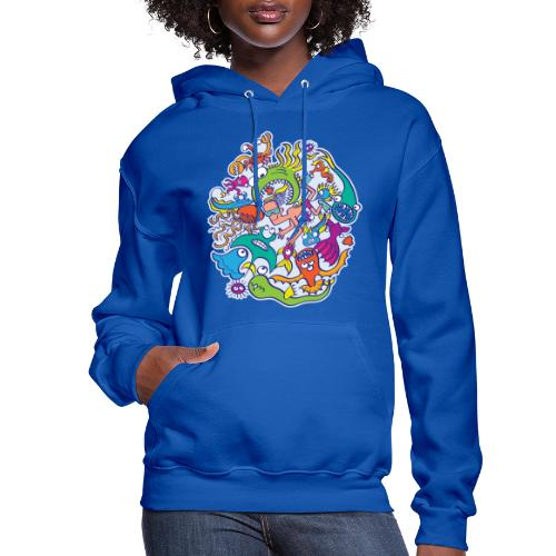 Summer swimming with weird dangerous sea creatures - Women's Hoodie