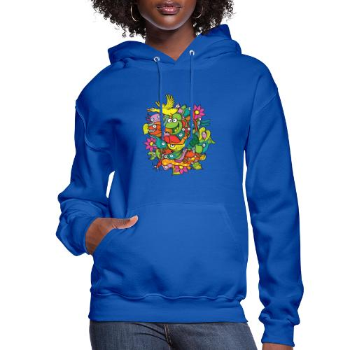 Amazing crowd of funny creatures living in a pond - Women's Hoodie