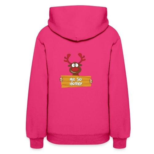 Red Christmas Horny Reindeer 6 - Women's Hoodie