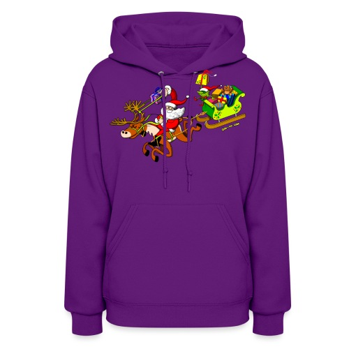 Santa's Gift Delivery with a Slingshot - Women's Hoodie