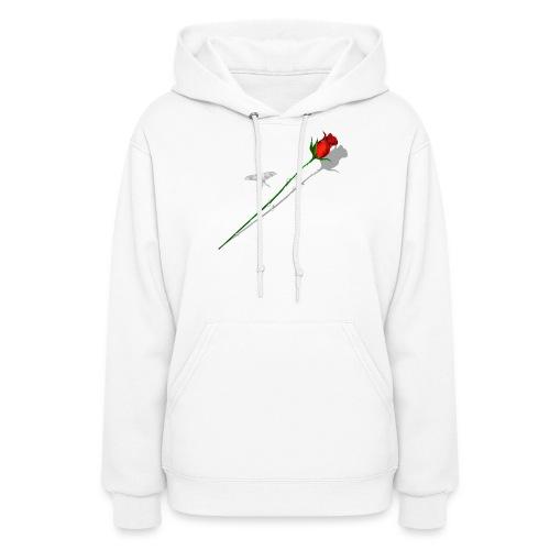Shadowed Rose-White Butterfly - Women's Hoodie