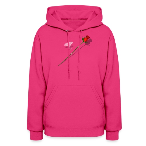 Shadowed Rose-White Butterfly - Women's Hoodie
