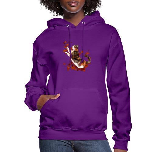 Autumn Cat - cat playing with autumn leaves - Women's Hoodie