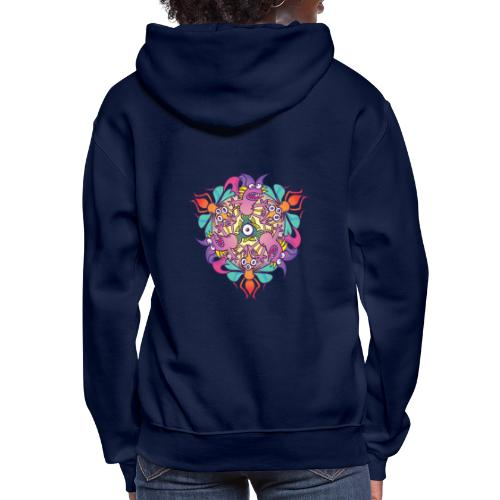 Mosquitoes, bats and fishes in doodle art style - Women's Hoodie