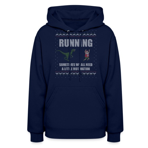 Ugly Christmas Sweater Running Dino and Santa - Women's Hoodie