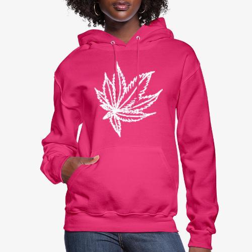 white leaf w/myceliaX.com logo - Women's Hoodie