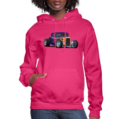 Vintage Hot Rod Car with Classic Flames - Women's Hoodie