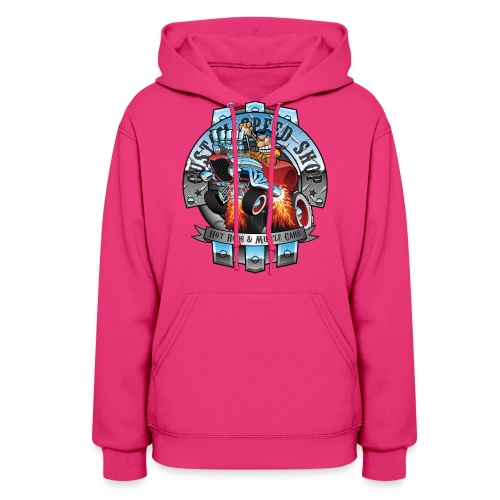 Custom Speed Shop Hot Rods and Muscle Cars Illustr - Women's Hoodie