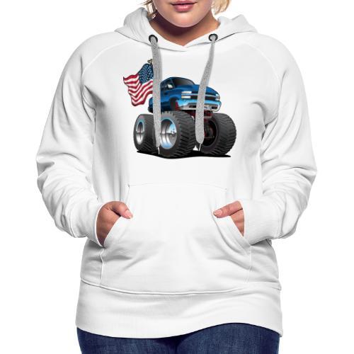 Monster Pickup Truck with USA Flag Cartoon - Women's Premium Hoodie